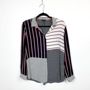 RW&CO Button-Up Striped Blue, White & Pink Blouse